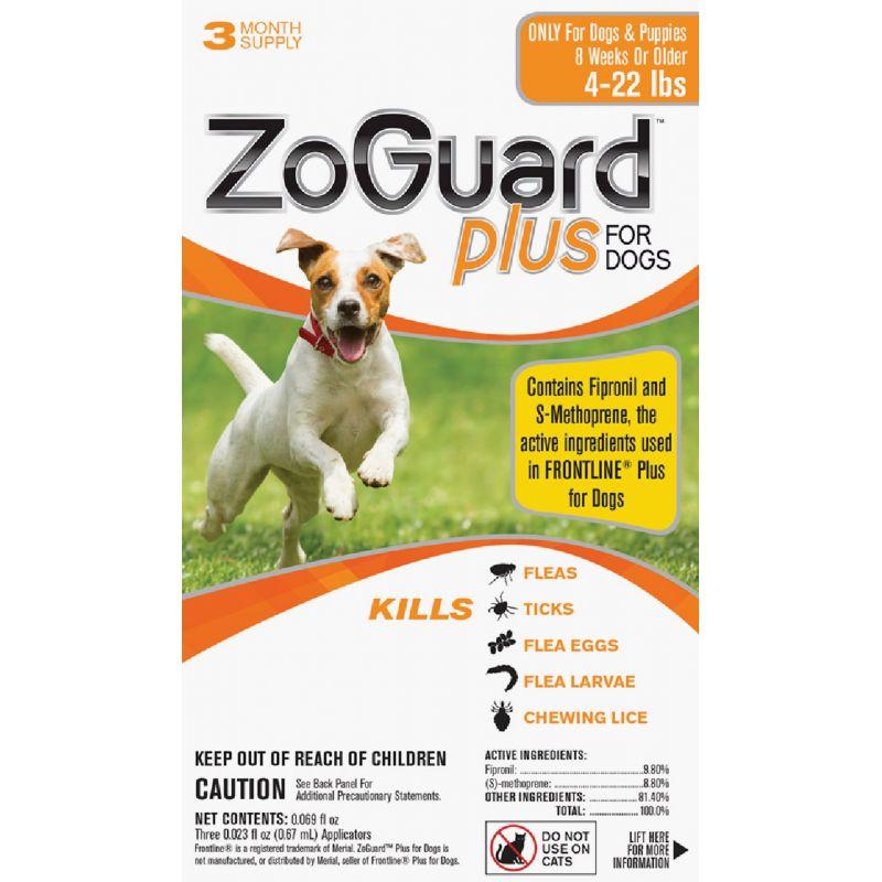 ZoGuard Plus For Dogs Flea & Tick Treatment (3) 0.023 Oz. Tubes
