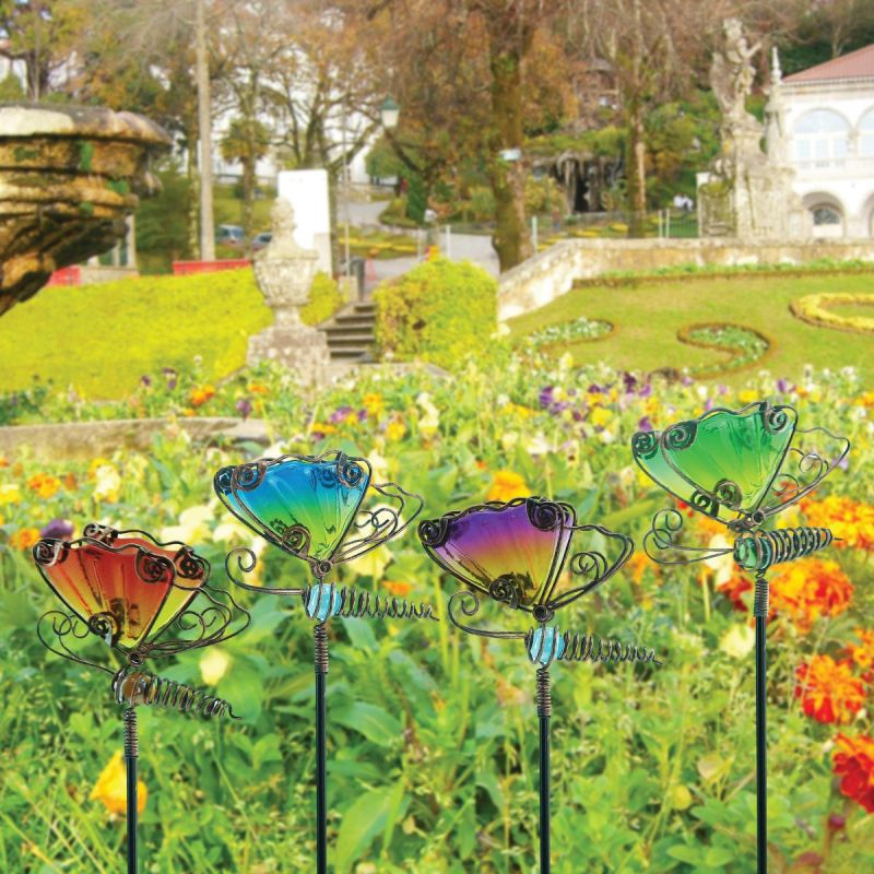 Alpine Wiggle Motion Butterfly Garden Stake Lawn Ornament Assorted (Pack of 24)