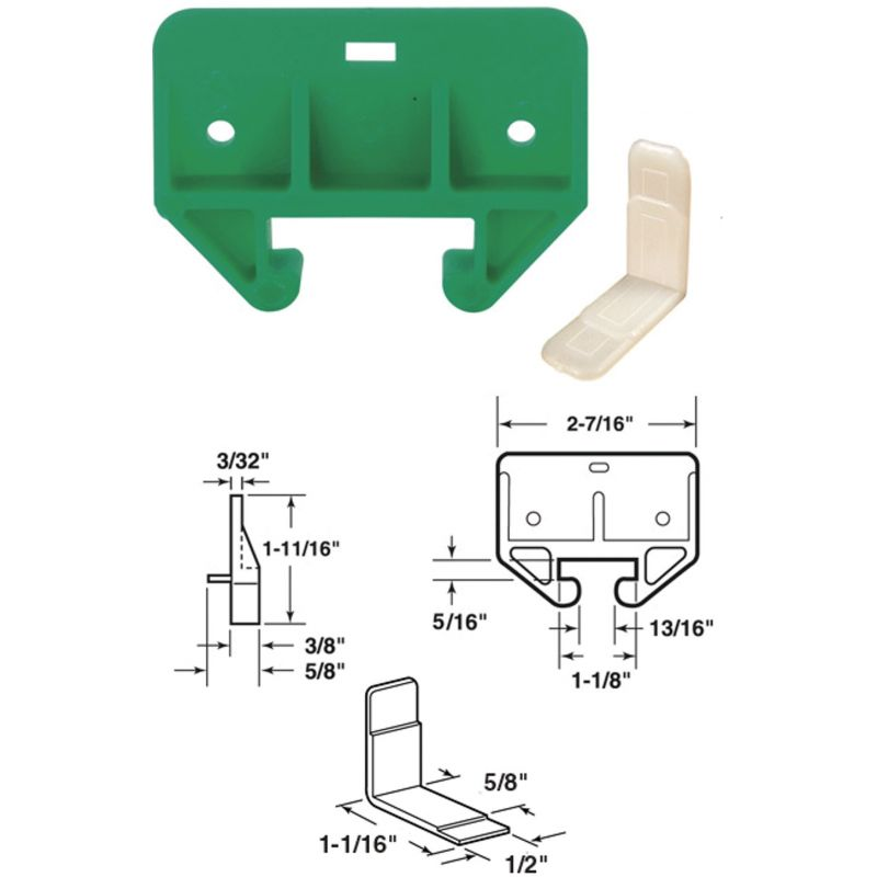 Prime-Line Nylon Track Guide Green