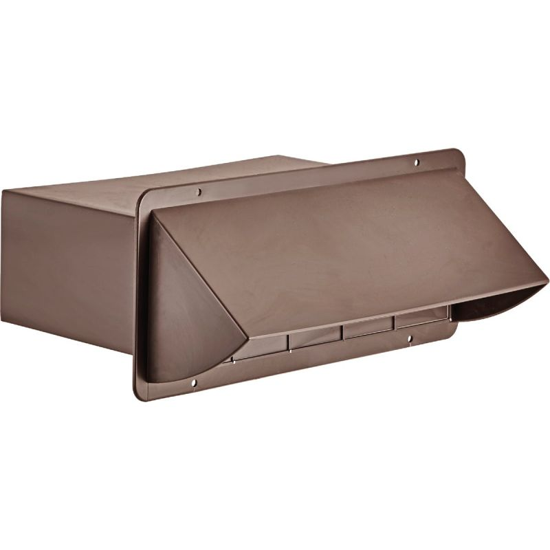 Lambro Plastic Kitchen Wall Vent Cap with Damper 3-1/4 In. X 10 In., Brown