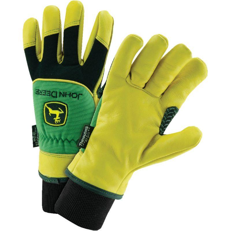West Chester John Deere Deerskin Leather Winter Glove XL, Green, Yellow, Black