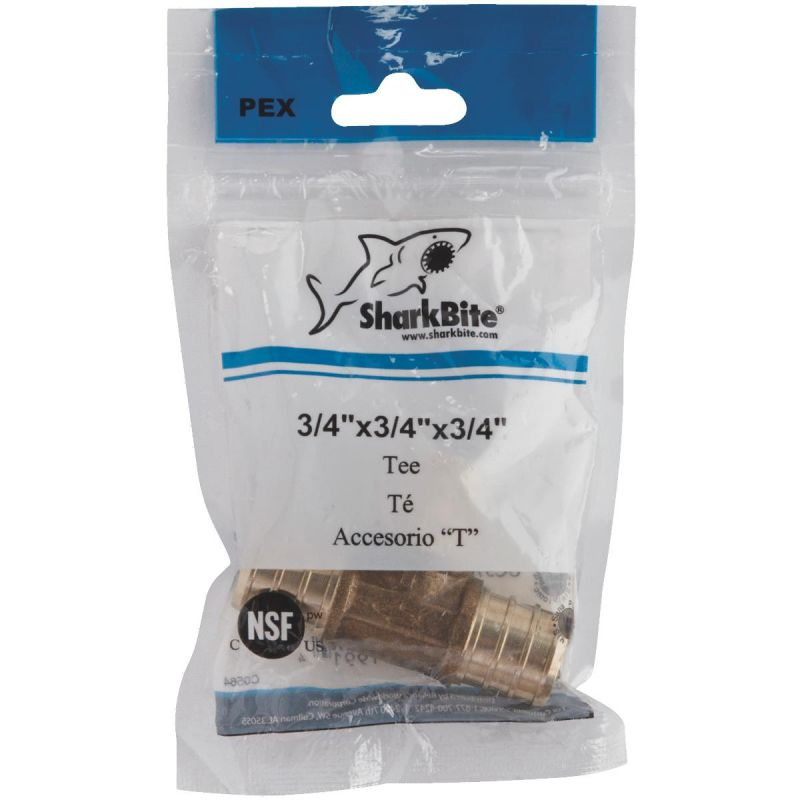 SharkBite Brass Barb PEX Tee 3/4 In. X 3/4 In. X 3/4 In. Barb