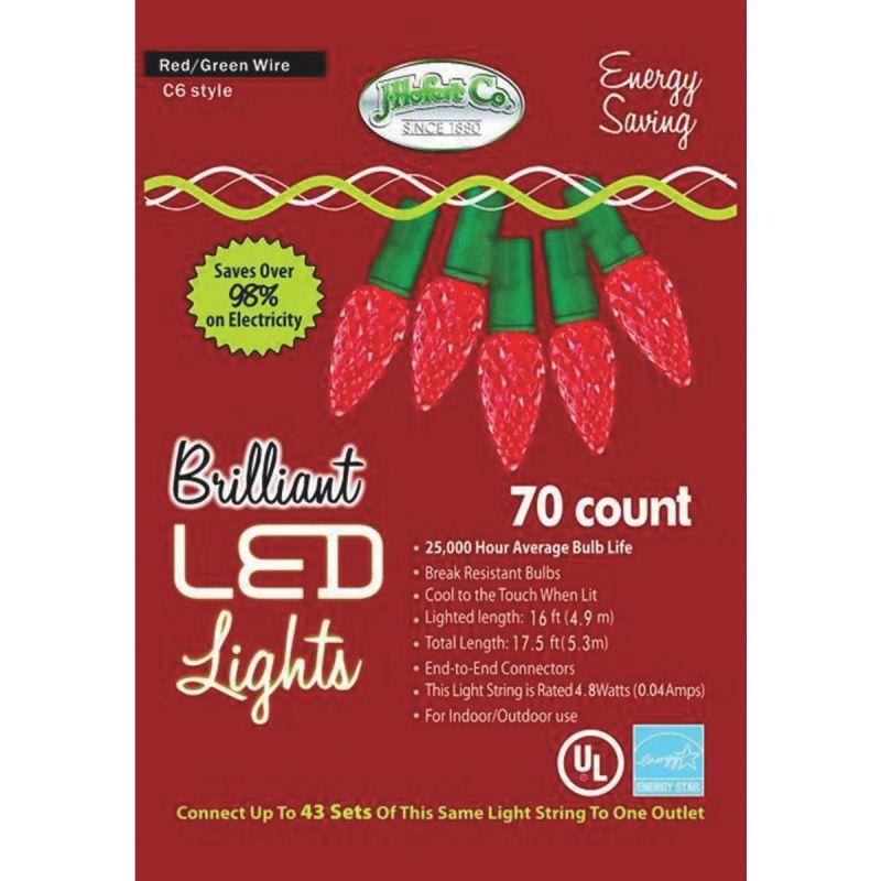 J Hofert Red 70-Bulb C6 LED Light Set