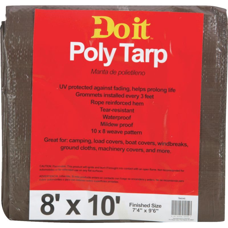 Do it Medium Duty Poly Tarp 8 Ft. X 10 Ft., Green/Brown
