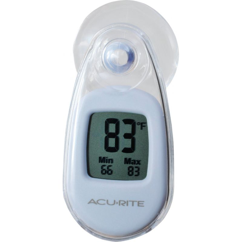 Acu-Rite Suction-Cup Window Indoor & Outdoor Thermometer 2 In. W. X 3.05 In. H. X 1.5 In. D., White