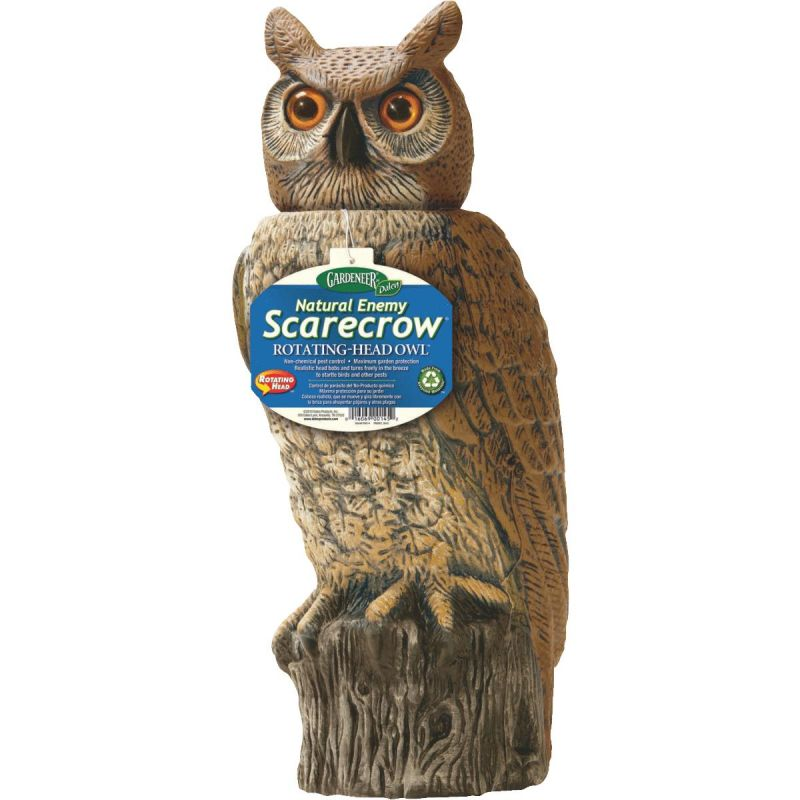 Gardeneer Natural Enemy Scarecrow Rotating-Head Great Horned Owl Pest Deterrent Decoy 18 In. H.