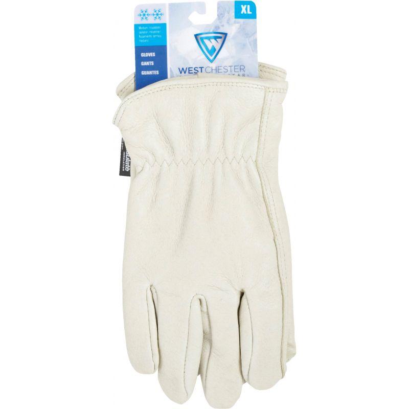 West Chester Grain Pigskin Leather Driver Work Glove XL, White