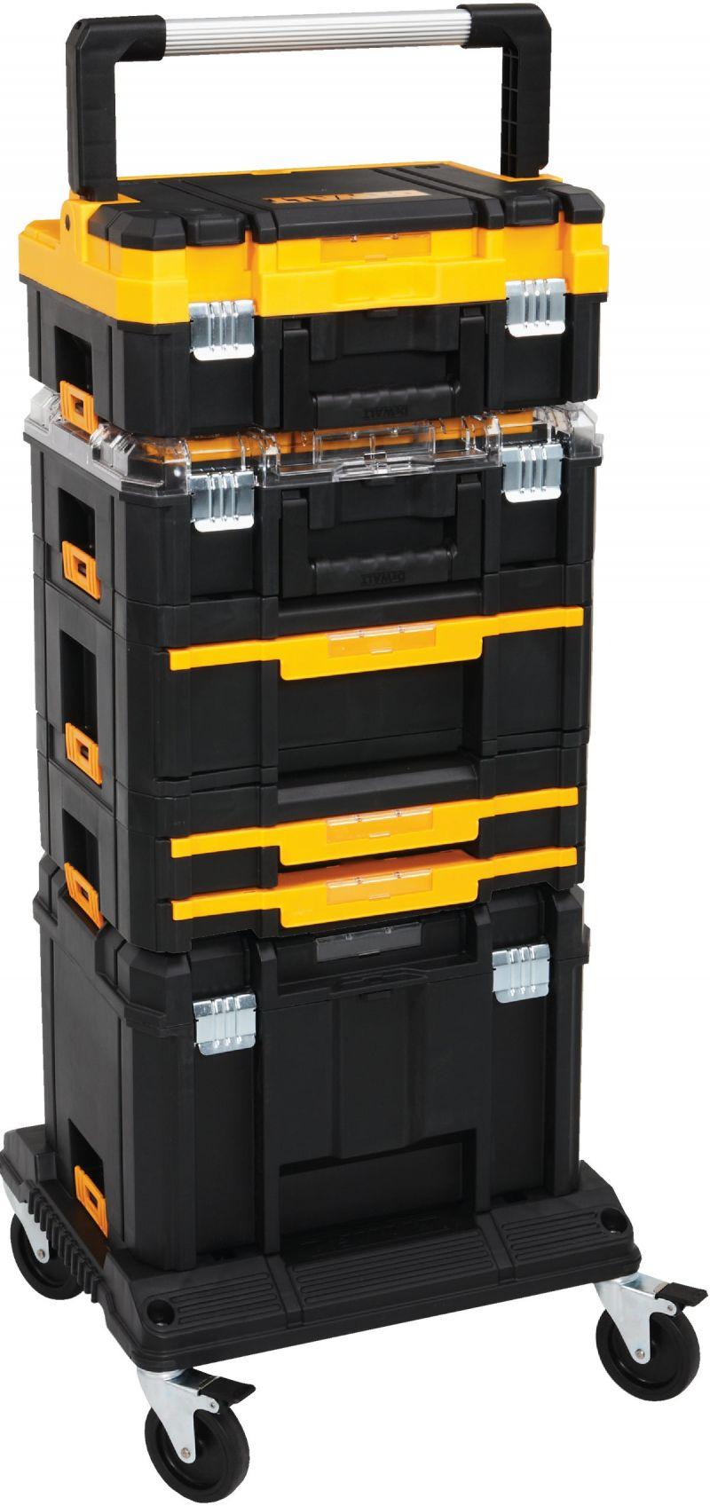 H Black DeWalt TSTAK 17 in W x 13 in Plastic Flat Top Tool Box 13 in