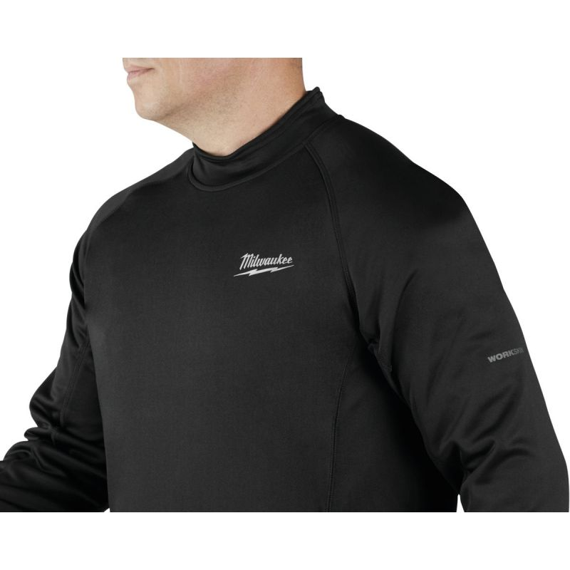 Milwaukee Workskin Heated Midweight Base Layer Shirt M, Black, Long Sleeve