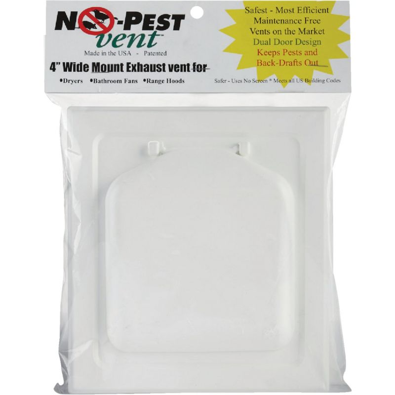 No-Pest Wide Mount Dryer Vent Hood 4 In., White