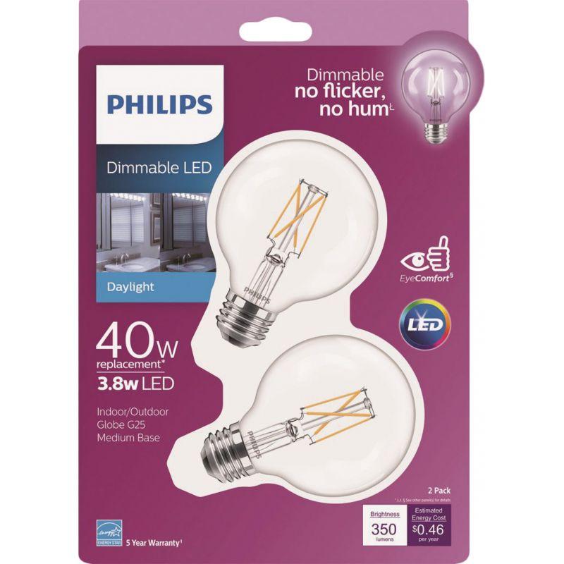 Philips G25 Medium Dimmable LED Decorative Light Bulb