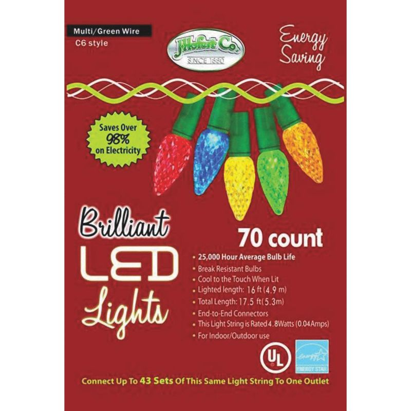 J Hofert MultiColored 70-Bulb C6 LED Light Set