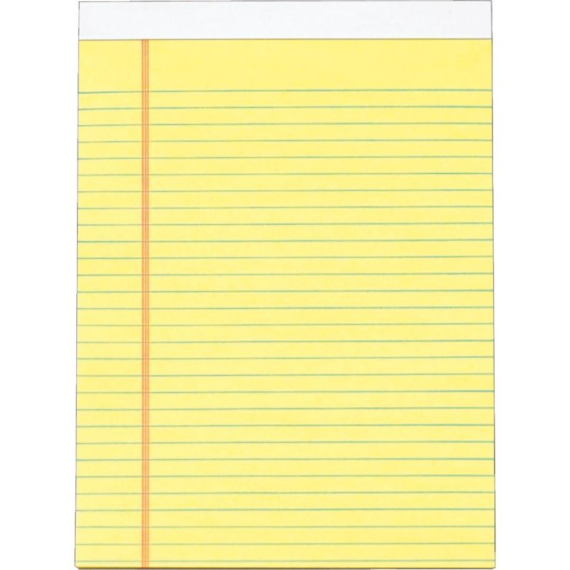 Staples Legal Pad 8-1/2 In. W. X 11 In. H., Yellow