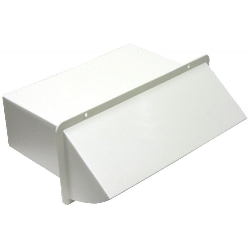 Lambro Plastic Kitchen Wall Vent Cap with Damper 3-1/4 In. X 10 In., White