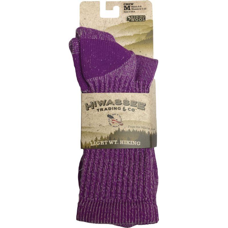 Hiwassee Trading Company Lightweight Hiking Crew Sock M, Lavender