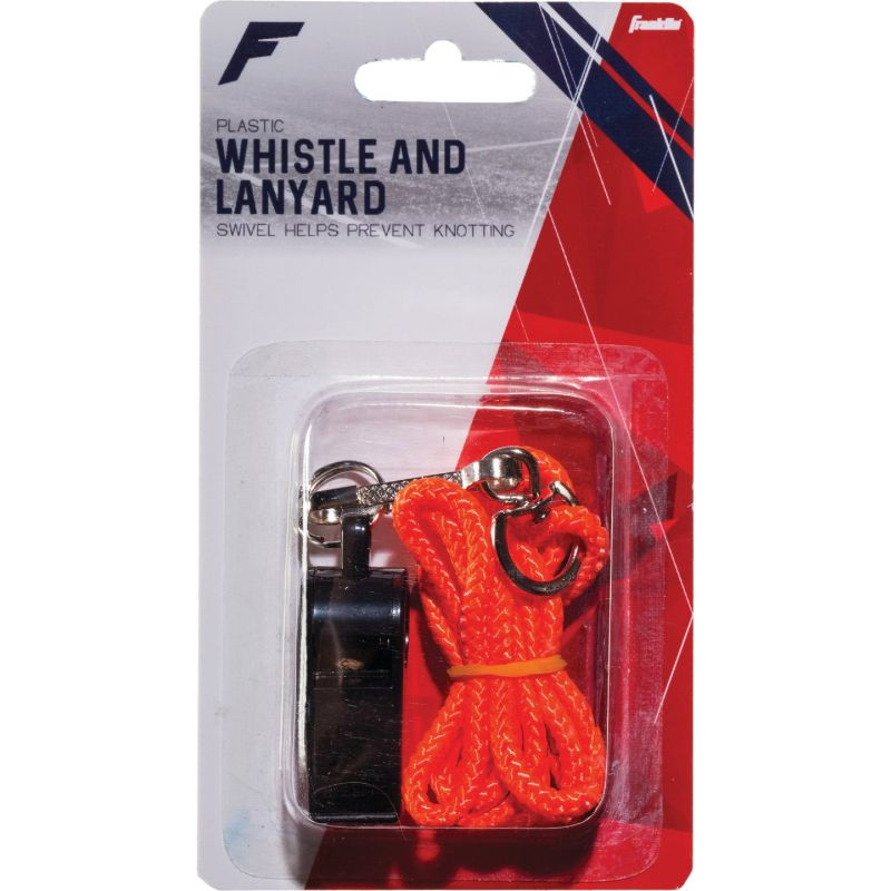 Franklin Whistle with Lanyard Black