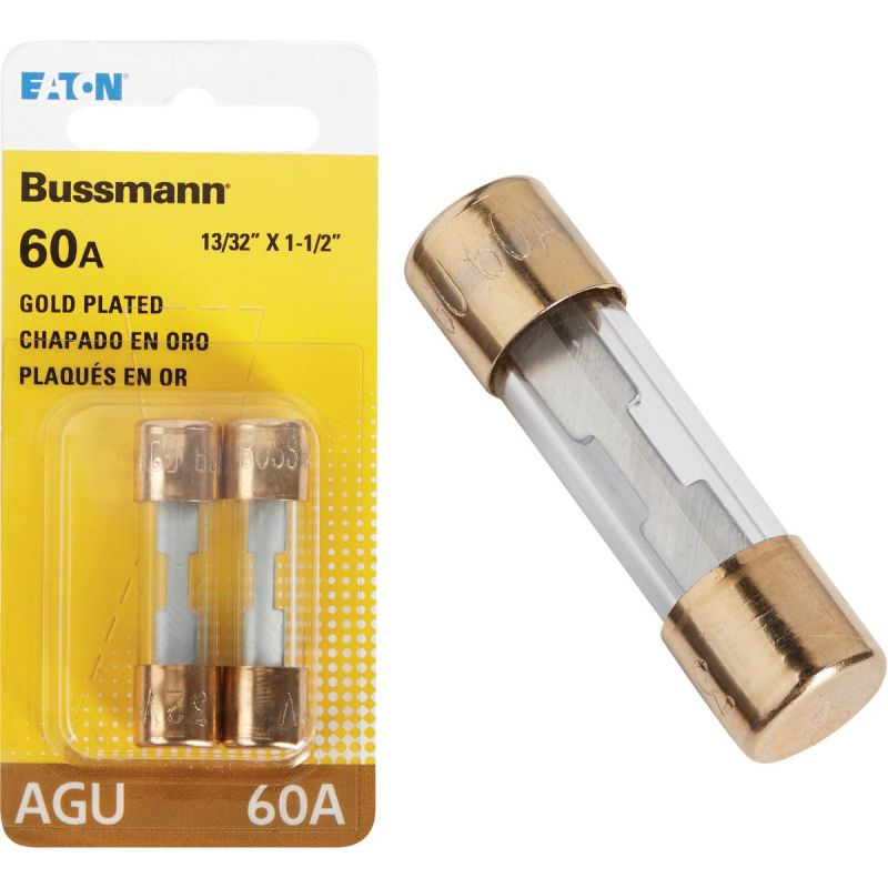 Bussmann Plated-End Glass Tube Automotive Fuse Clear, Gold-Plated End Cap, 60A