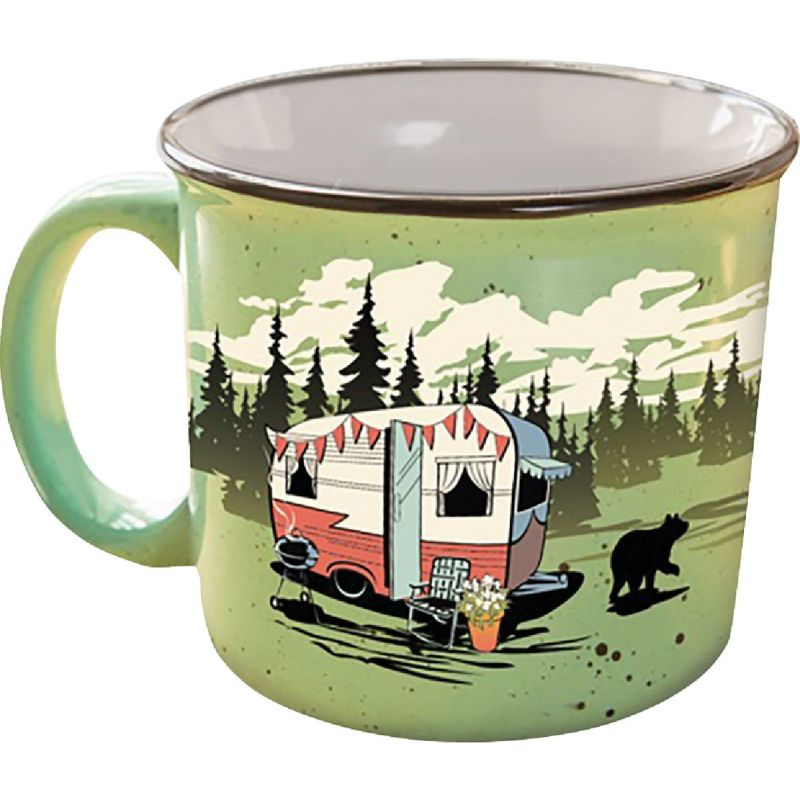 Camp Casual Coffee Mug 15 Oz., Green With Design