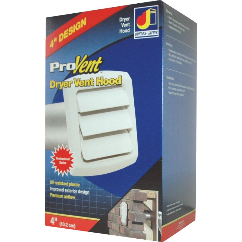 Dundas Jafine ProVent Exhaust Dryer Vent Hood 4 In., White