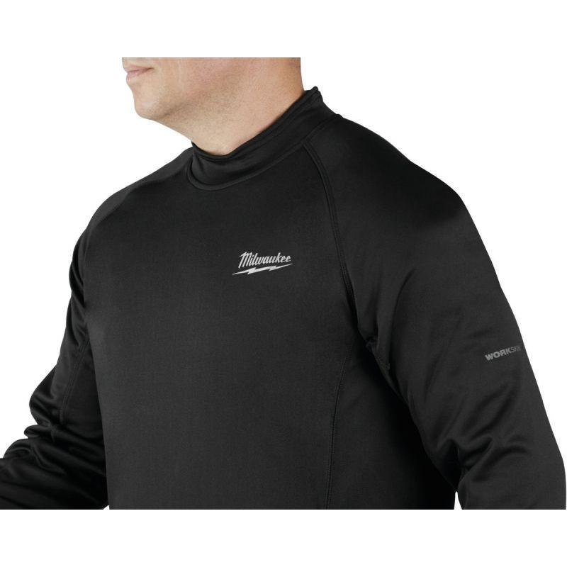 Milwaukee Workskin Heated Midweight Base Layer Shirt XL, Black, Long Sleeve