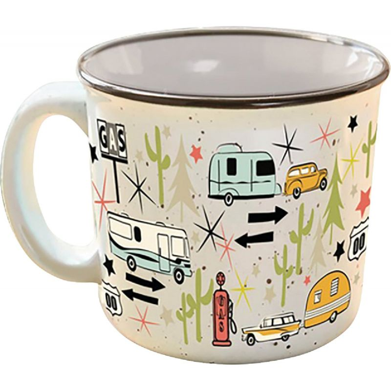 Camp Casual Coffee Mug 15 Oz., Cream With Design