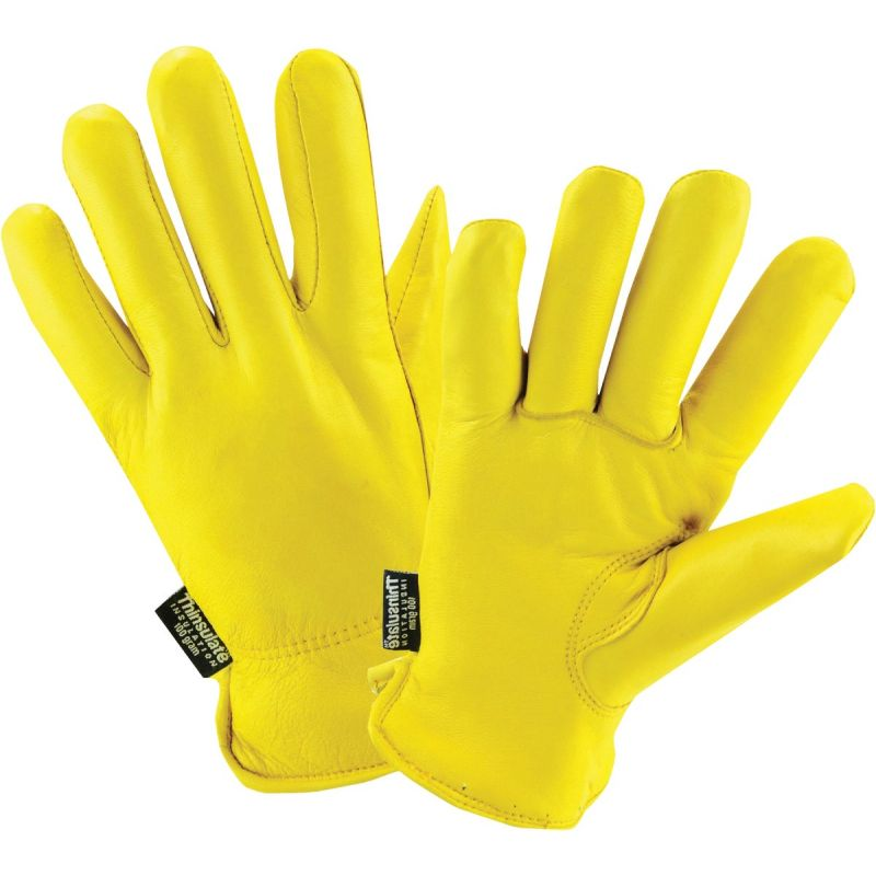 West Chester Grain Deerskin Leather Winter Glove L, Yellow