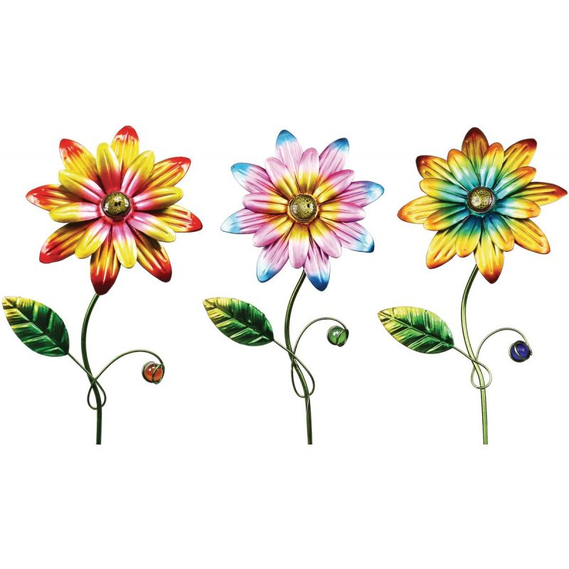 Alpine Daisy Garden Stake Lawn Ornament Assorted (Pack of 24)
