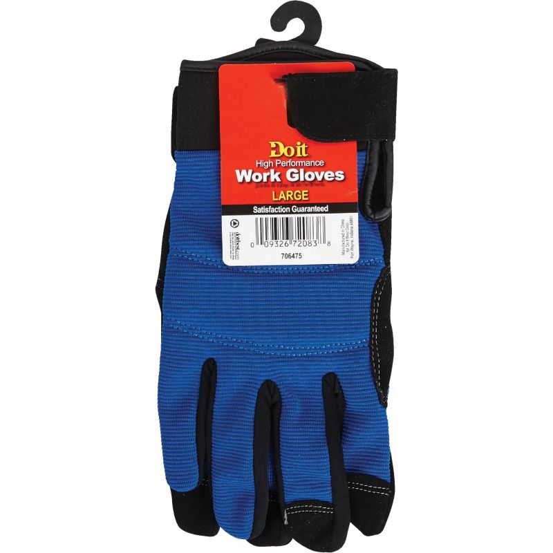 Do it High Performance Glove With Hook & Loop Cuff L, Blue & Black