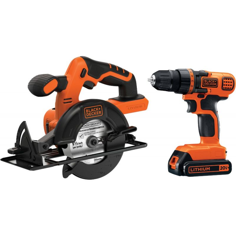 Black & Decker 20V MAX Li-Ion Circular Saw & Drill Cordless Tool Combo Kit