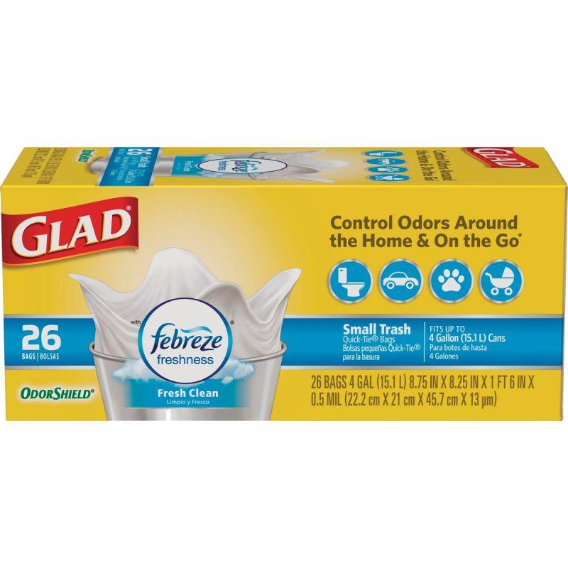 Glad Febreze Fresh OdorShield Small Trash Bag 4 Gal., White
