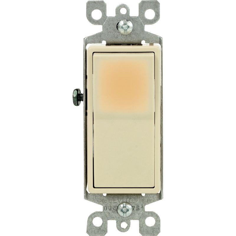 Leviton Decora Illuminated Rocker Single Pole Switch Ivory, 15A