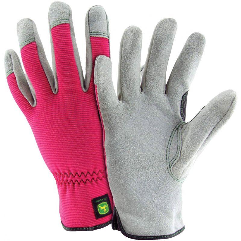 John Deere Women's Leather Work Glove S/M, Pink & Gray
