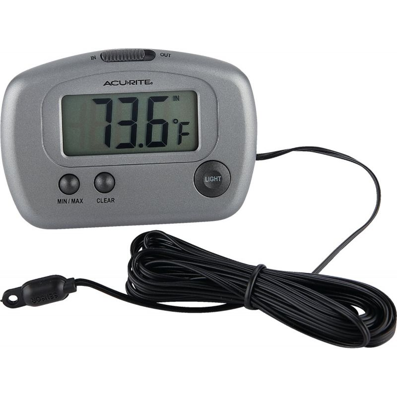 """AcuRite Digital Indoor And Outdoor Thermometer 2-3/4"""" W X 3-1/8"""" H, Gray"""
