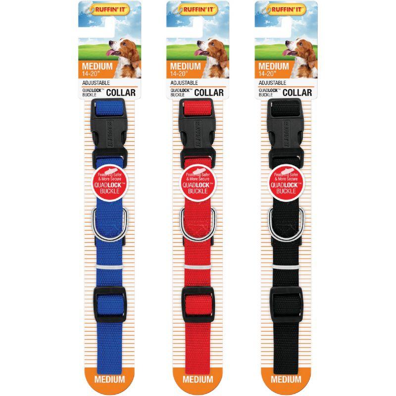 Westminster Pet Ruffin' it Adjustable Nylon Dog Collar Black/Red/Blue