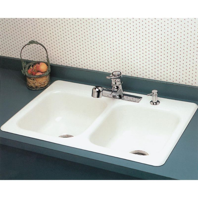 Seabrook White Porcelain Enameled Steel Double Bowl Sink 33 L X 22