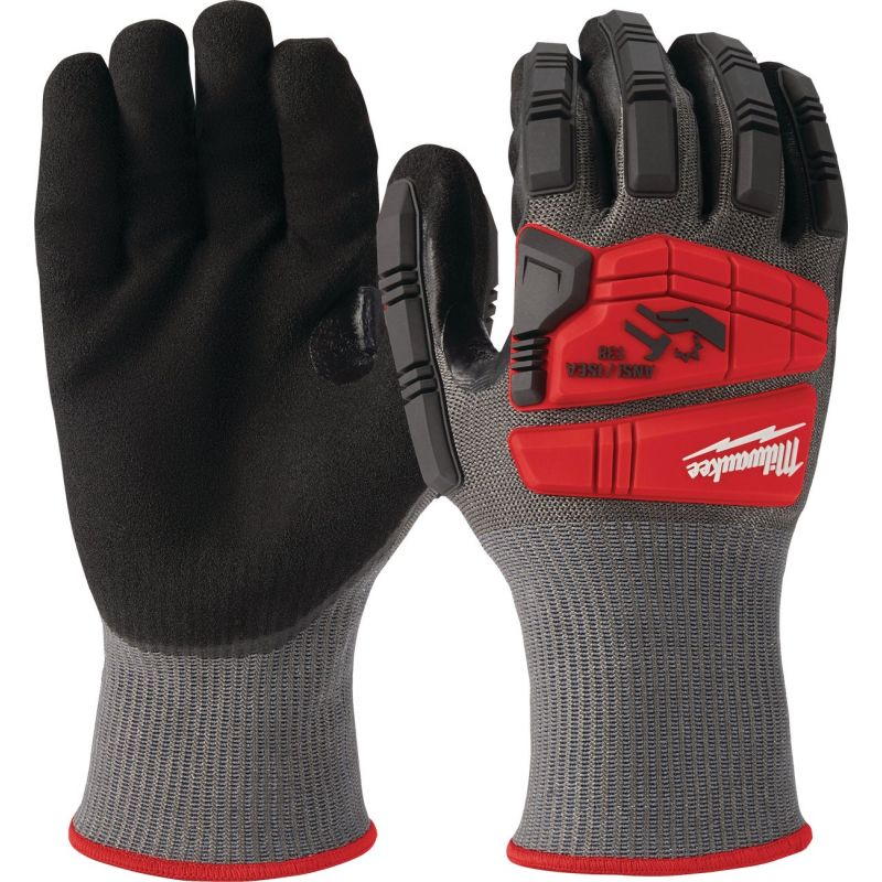 Milwaukee Impact Cut Level 5 Men's Nitrile Work Gloves L, Red & Black