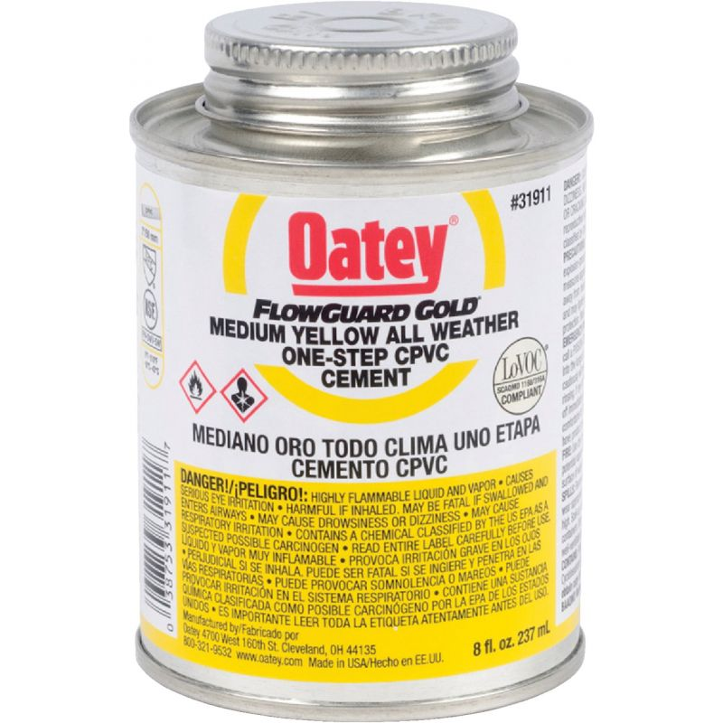 Oatey Flow Guard Gold CPVC Cement 8 Oz., Yellow