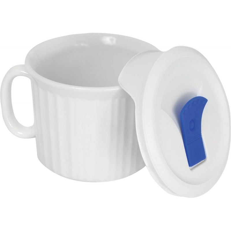 Corningware Vented Pop-In Drinking Mug 20 Oz., French White (Pack of 4)