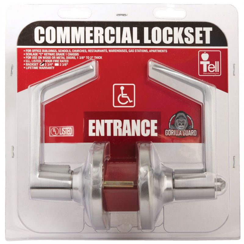 Tell Heavy-Duty Satin Chrome Commercial Entry Lever Lever
