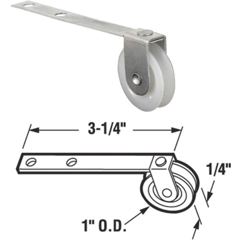Slide-Co Straight Spring Tension Screen Door Roller Assembly With Center Groove