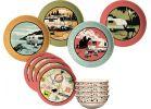 Camp Casual 12-Piece Retro Vintage RV Dinnerware Set