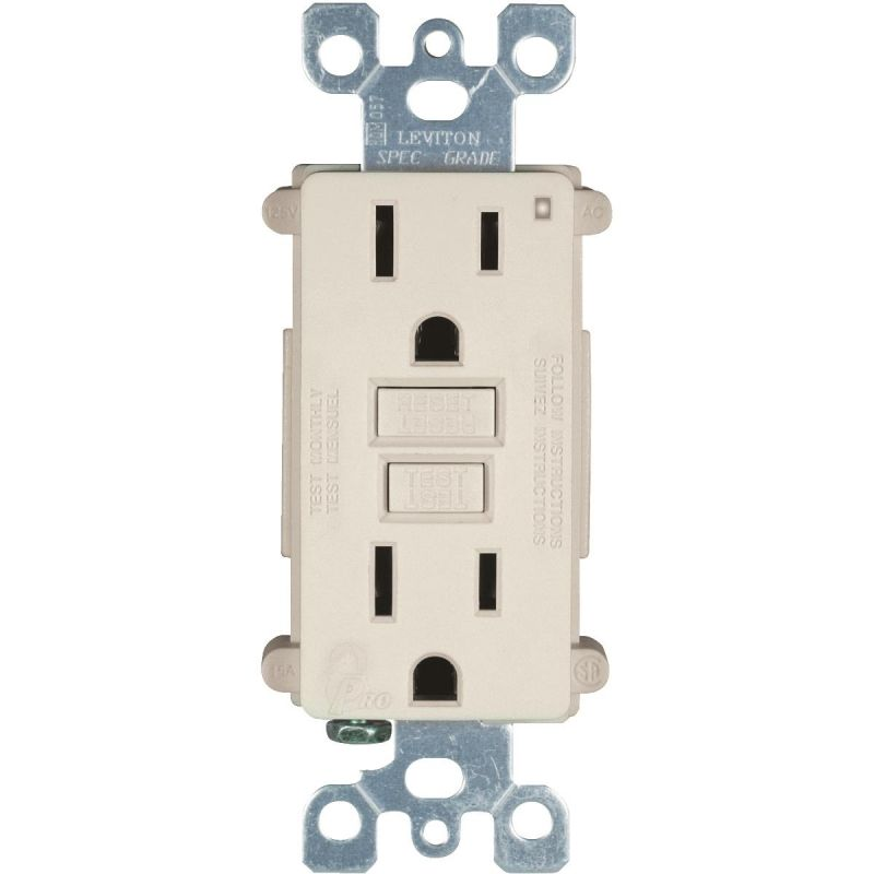 Leviton SmartLock GFCI Outlet Light Almond, 15A