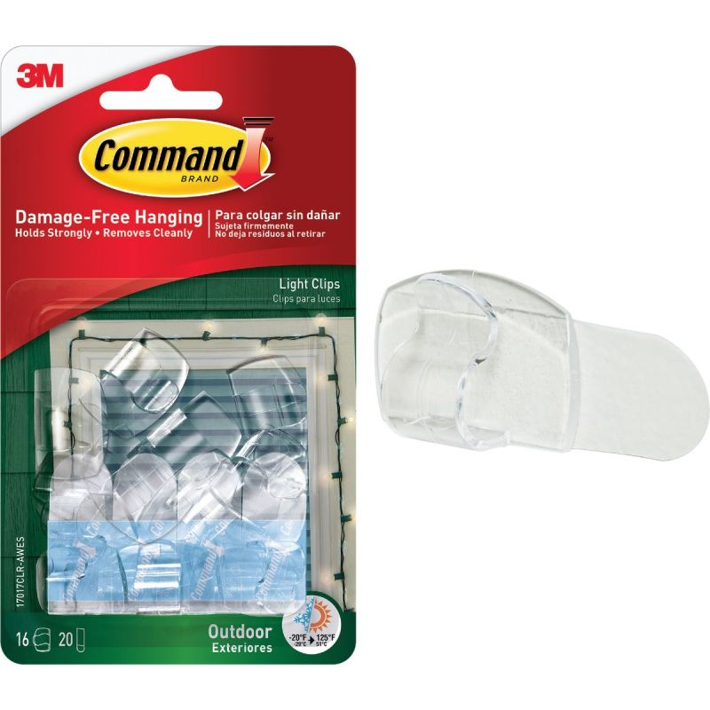 Command Outdoor Light Clips with Foam Strips Clear