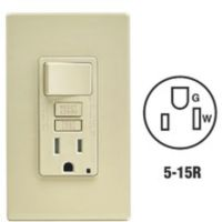 Leviton Self-Test Tamper Resistant GFCI Switch & Outlet Combination With Wallplate