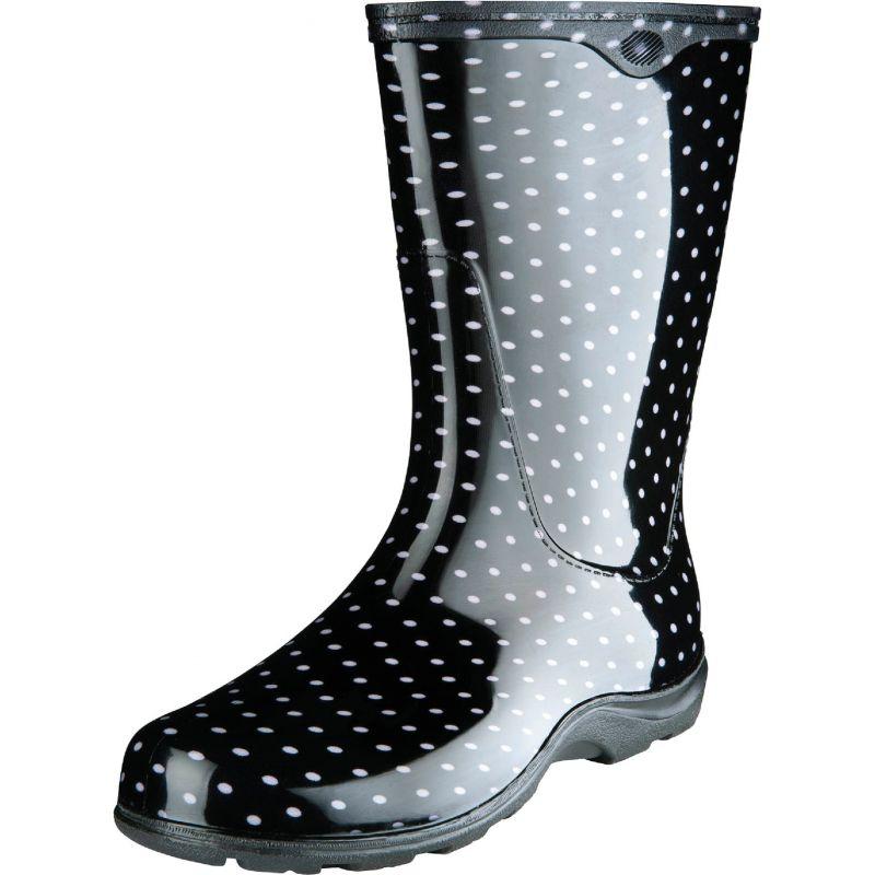 Sloggers Women's Rain & Garden Rubber Boot Size 10, Black & White