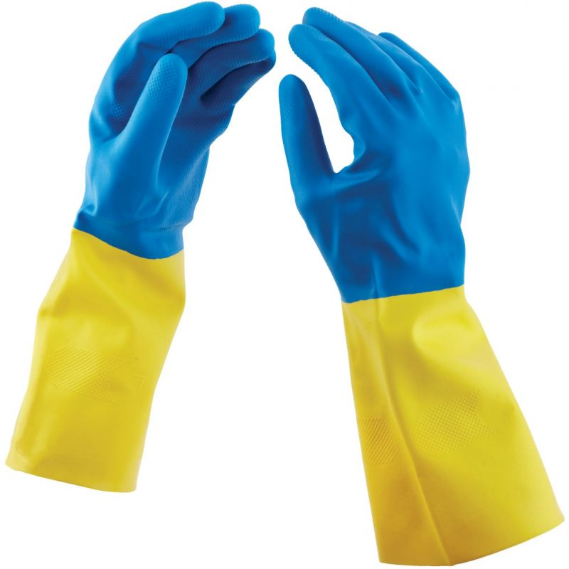 Soft Scrub Neoprene Coated Latex Rubber Glove S, Blue & Yellow