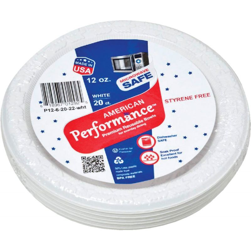 American Performance Plastic Bowl 12 Oz., White (Pack of 36)