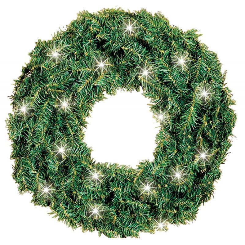 Gerson Canadian Pine Prelit Wreath 24 In., Green