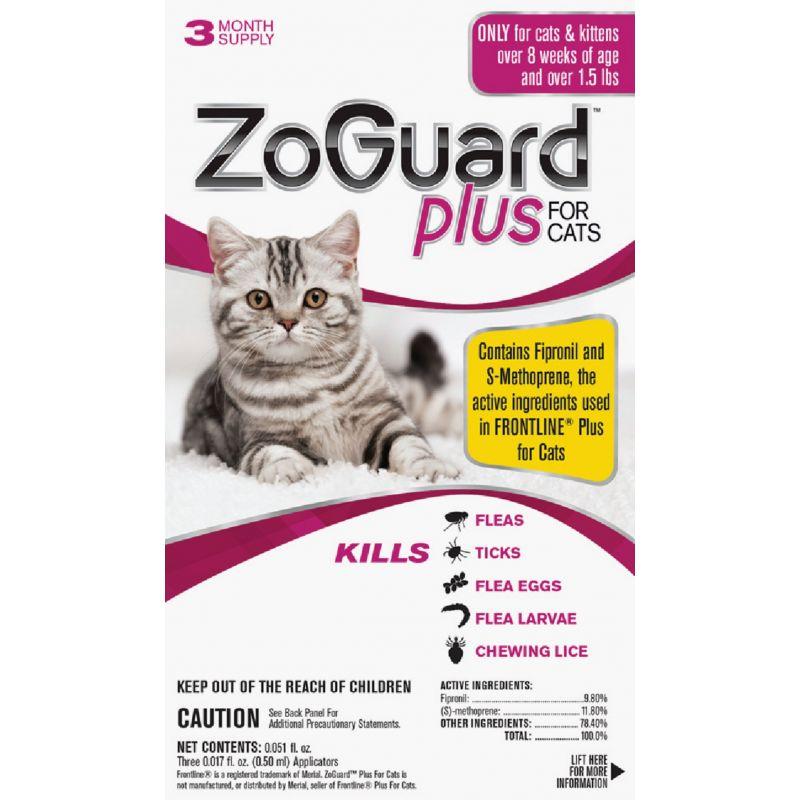 ZoGuard Plus For Cats Flea & Tick Treatment (3) 0.017 Oz. Tubes