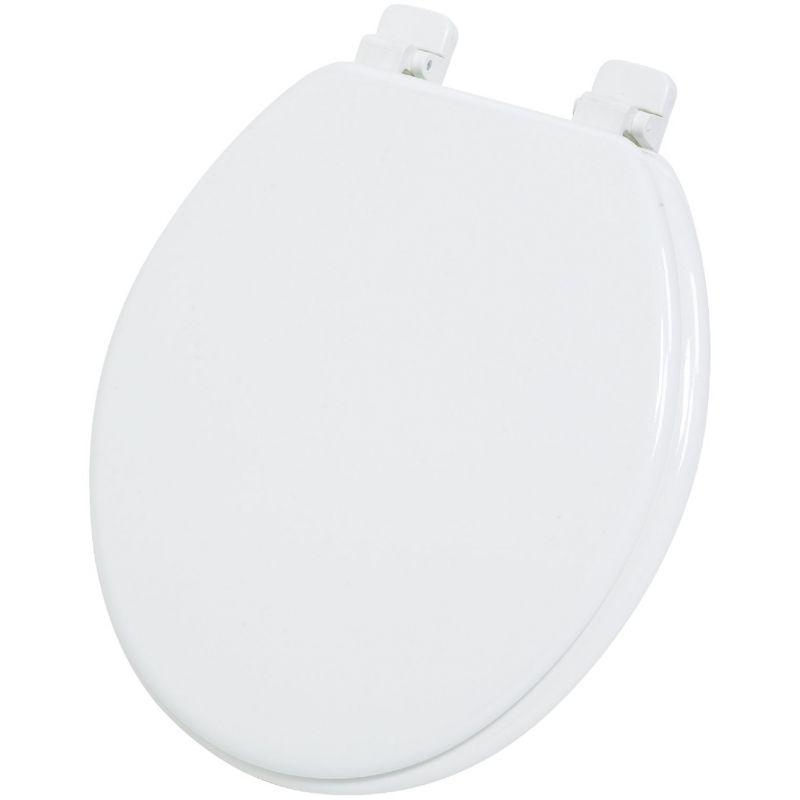 Home Impressions Round Wood Toilet Seat White, Round
